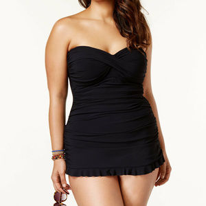 NWT Profile By Gottex Black Swimdress Swimsuit